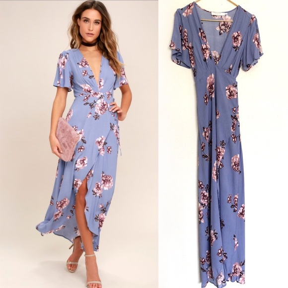 Astr Dresses & Skirts - ASTR Selma periwinkle floral wrap dress